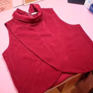 YUAN: sleeveless red crop top