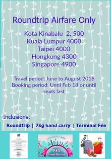 Airfare Roundtrip tickets only