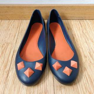 Melissa Navy and Orange Flats