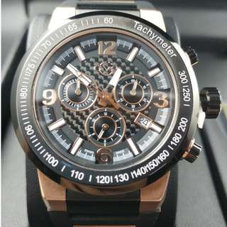 GV2 BY Gevril Quartz Novara Black Dial Chronograph 8200 (Limited Edition)