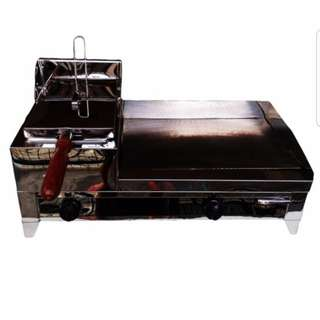 Single Gas Deep Fryer with 12x14 inches burger griller