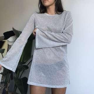 VERGE GIRL silver sparkly dress