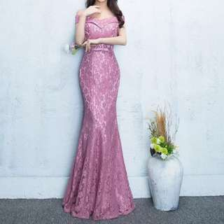 Pink off shoulder floral dress / evening gown