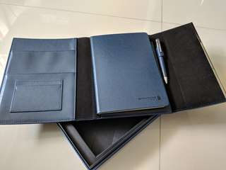 Leather folder , notebook and pen