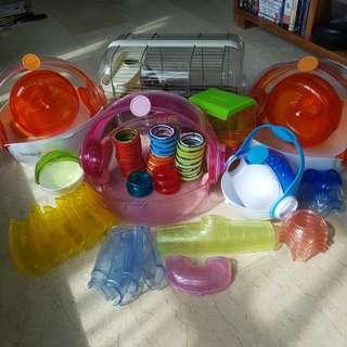 Hamster Habitat/ Cage x4; Tubes x20 & Accessories