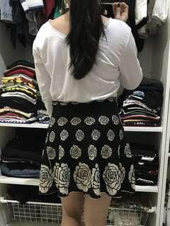 Floral black skirt
