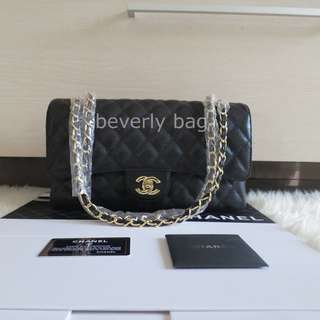 jual tas Chanel Classic Caviar 30 LEATHER MIRROR - black GHW
