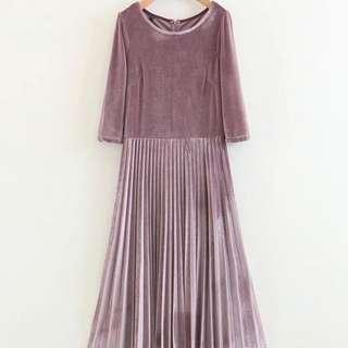 🔥Inspired Zara Velvelt Pleated Large Dress