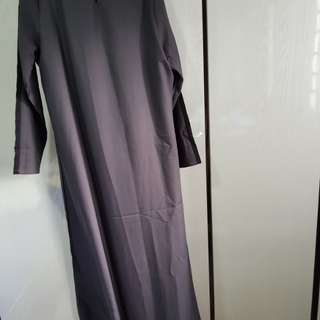 Grey/black colorblock long dress /jubah from poplook