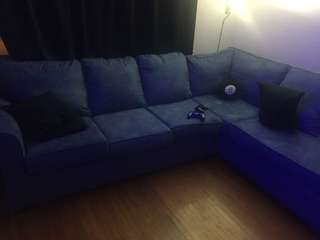 Blue L shape sectional couch