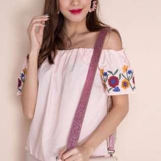 Pink Embroidered Off Shoulder Top