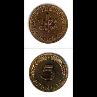 Germany 1950 5 Pfennig UNC Stuttgart Mint F Mintmark--00089