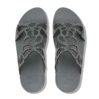 FitFlop BUMBLE™  Crystal Slide Sandals | Pewter | US Women's Size 5,6,7,8,9,10| Flip Flop Sandal Slipper