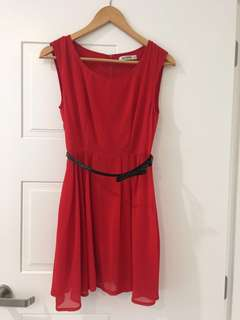 Cute red chiffon dress