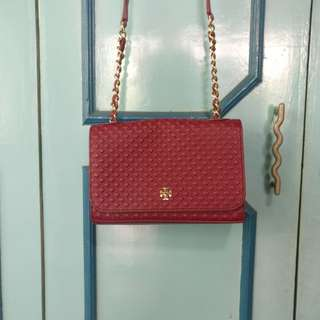 Original Tory Burch Marion Embossed Shrunken Shoulder Bag (Red Agate)