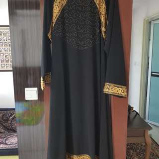 Black jubah / abaya with gold embroidery