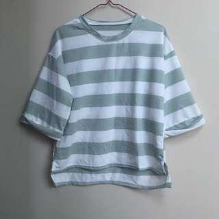 Striped Boxy Top Green White Stripes