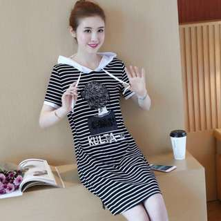 Stripe Hoodie Shirt Dress