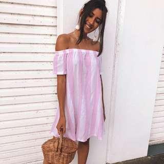 ➰ stunnerboutique - stripe dress pink
