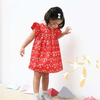 Lepetitesociety LPS Red Series - Flutter Dress with Sparrow Foil Print
