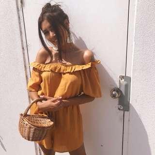 ➰ dissh boutiques - mustard playsuit