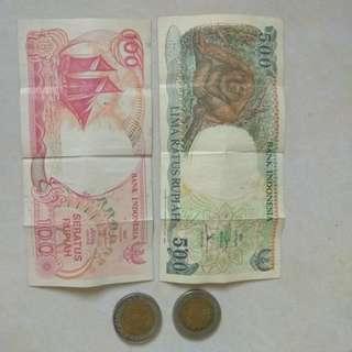 Uang kertas 500 & 100 perak tahun 1992 & koin kelapa sawit 1995