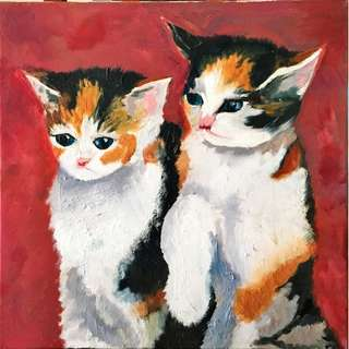 Oil painting of two kittens