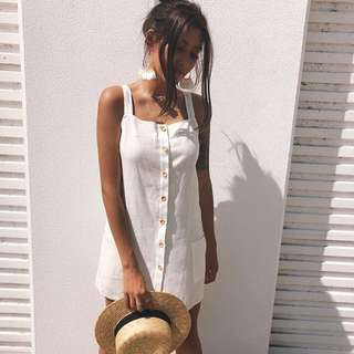 ➰ frocknation - linen white sun dress