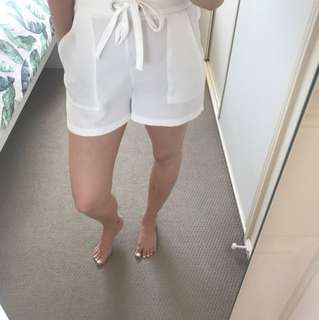 Topshop White Silk Panel Shorts