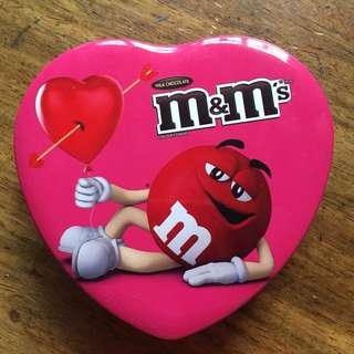 m&m's chocolate with heart container