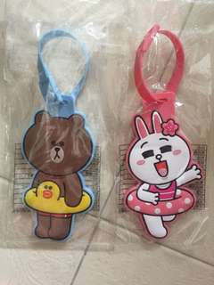 Line luggage tag (cony n brown)