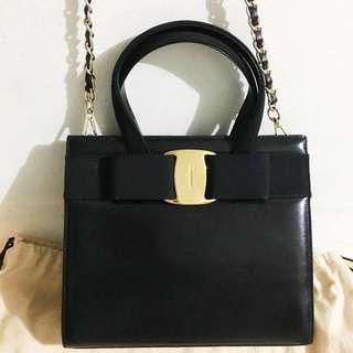 中古 Ferragamo Bow Bag vintage 手挽袋 非 Gucci Chanel Hermes Dior Celine YSL 款