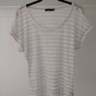 Sheer striped top white and grey Sportsgirl