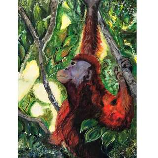 ORANGUTAN OIL PAINTING TO RAISE FUNDS FOR ORANGUTAN CONSERVATION