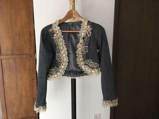 Velvet crop jacket