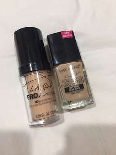 Wet n wild and LA Girl PRO coverage foundation