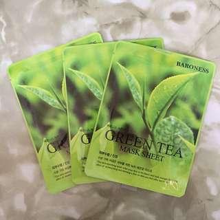 (3pcs.) Baroness Green Tea Mask Sheet with FREE Cosrx Sample