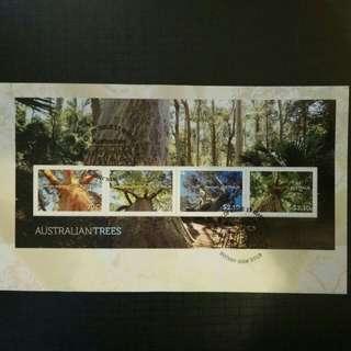 澳洲樹木郵票小全張首日封