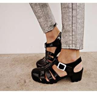 Topshop Black Heel Jelly Sandals