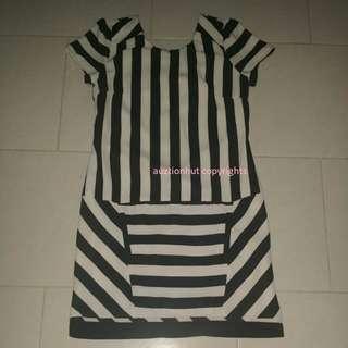 Used Office Black Stripe Dress Size S