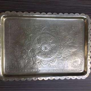 Antique Persian silver serving tray. 36x26 cm