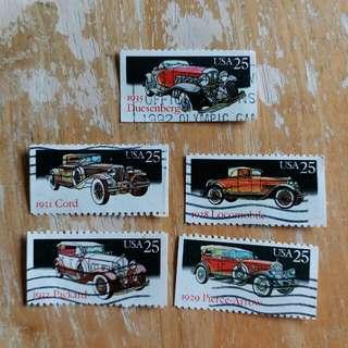 美國郵票老爺車已銷郵票一套五全