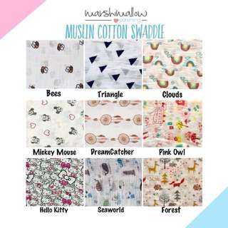 Newborn Baby 100% Muslin Cotton Swaddle Wrap for Newborn Baby
