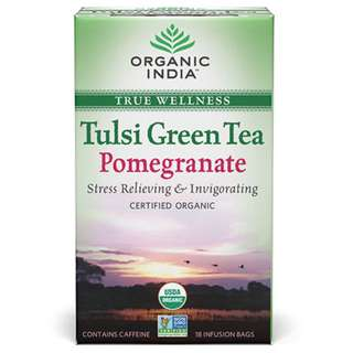 SHARE Tulsi Green Tea Pomegranate 18 Tea Bags - Organic India