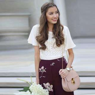 Top Laced Chiffon with Floral  Broad Pants