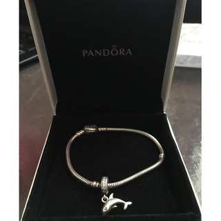 Used Original Pandora Bracelet with Heart Lock and Dolphin Charm