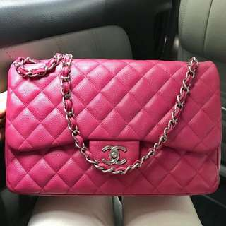 Chanel Jumbo caviar SHW DF Fuschia #18 complete with copy receipt -5k