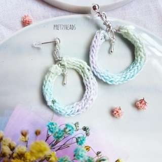 Knitted pastel earrings