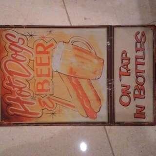 vintage style tin sign, pajangan kaleng..