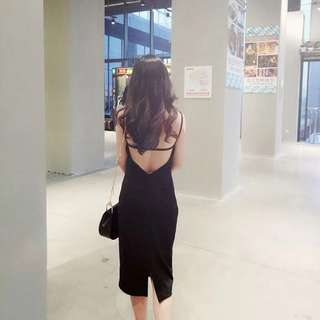 Low back classy black dress